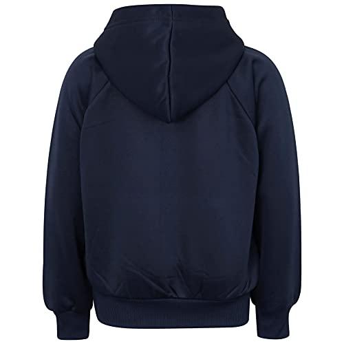 Kids Girls Boys Plain Tracksuit Hooded Hoodie Jog Suit - T.S Plain 109 Navy 7-8