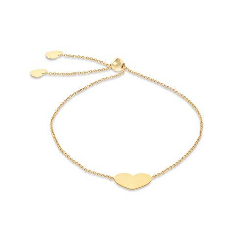Carissima Gold Pulsera Ajustable Deslizante Cadena Estilo Trace Corazón 10mm x 7.8mm de Oro Amarillo para Mujer 20cm/8'