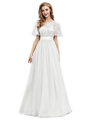 Ever-Pretty Damen Abendkleid A-Linie Spitze Kurze Ärmel Partykleid lang Weiß 44