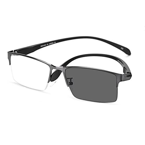 DDZHE Gafas de lectura de transición multifoco progresivas fotocromáticas Gafas de sol con bloqueo de luz Gafas antideslumbrantes Medio marco Presbicia