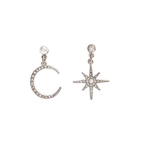 Pendientes de gota asimétricos de color puro, diseño de estrella de luna y estrellas, para mujeres y niñas, 2 unidades