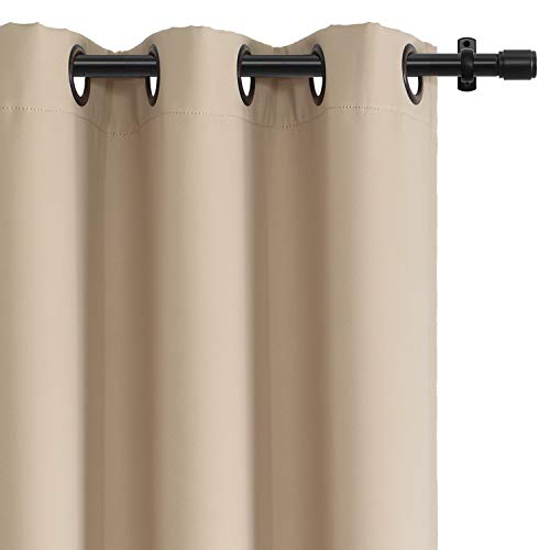 Rose Home Fashion RHF Blackout Thermal Insulated Curtain - Antique Bronze Grommet Top for Bedroom or Living Room,Grommet Curtain, Sold as 1 Panel,52W by 84L Inches-Beige (SYNCHKG079009)