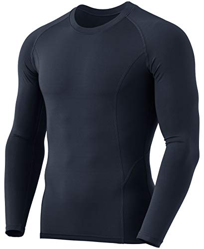 TSLA Men's Thermal Long Sleeve Compression Shirts, Athletic Base Layer Top, Winter Gear Running T-Shirt, Heatlock Round Neck Charcoal, Small