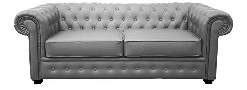 Limitless Home Chesterfield 2 Seater Grey Leather Sofa
