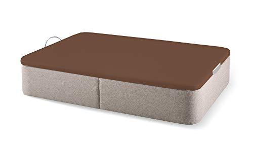 Naturconfort Canapé Abatible Romer Piedra Premium Tapizado Gran Capacidad Tapa 3D Chocolate 150x180cm Envio y Montaje Gratis