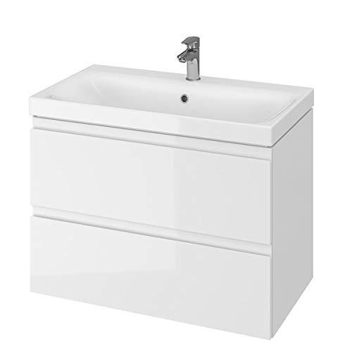 VBChome 80 cm Weiß Badmöbel Waschbecken mit Unterschrank Waschtisch 2-Schubladen Moduo