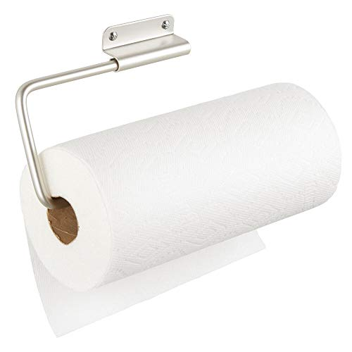 mDesign Portarrollos de pared para papel de cocina – Práctico soporte para papel de cocina, trapos y toallas – Ideal porta rollo de cocina para pared o armarios – plateado mate