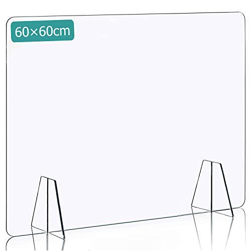 DUTISON Spuckschutz Plexiglas, Spuckschutz Thekenaufsatz ohne Durchreiche, für Geschäfte, Apotheken, Büro - 60 x 60 cm