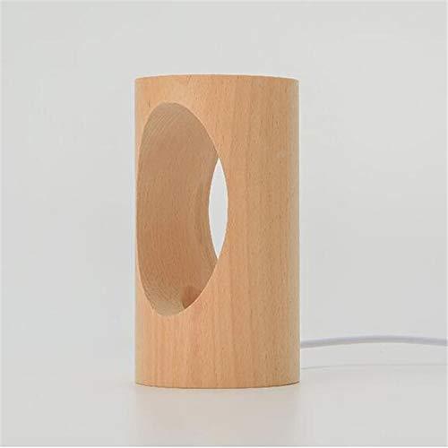 weichuang Luz nocturna creativa de madera maciza LED lámpara de mesa hueca tallada para el hogar, mesita de noche de escritorio con USB (color de la lámpara: 1 unidad)