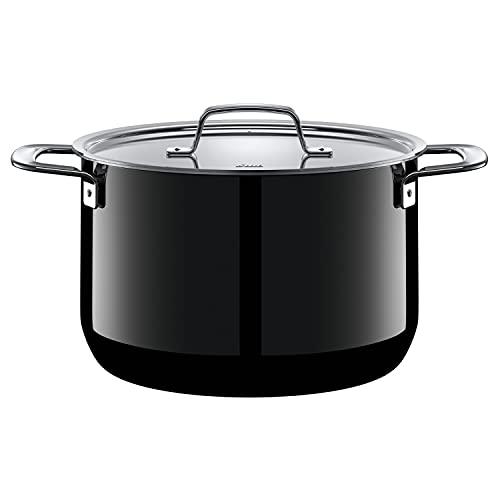 Silit Zeno Black Faitout Haut 24 cm, Couvercle en métal, marmite 6,4 l, céramique Fonctionnelle Silargan, Casserole à Induction, Noir