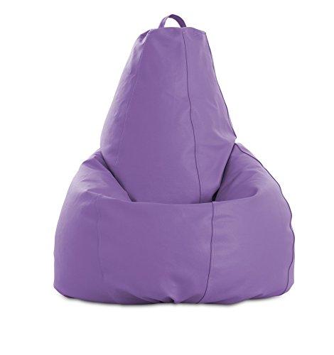 textil-home Puf - Pera moldeable XL Puff - 80x80x130 cm- Color Malva. Tejido Polipiel Alta Resistencia - Doble repunte - (Incluye Relleno Bolas Poliestireno).