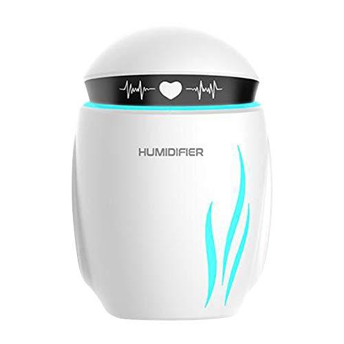 MagiDeal Humidificador portátil con rociador de escritorio Mini Robot alimentado por USB para oficina en casa viaje coche aire hidratante con luz nocturna LED - Blanco