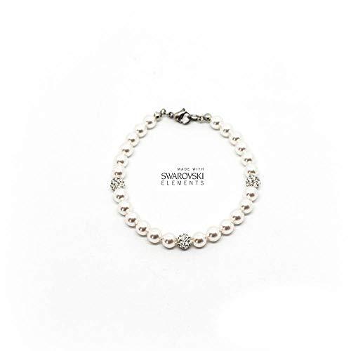 Bracciale con perle Swarovski bianche da 6mm e perle pavè