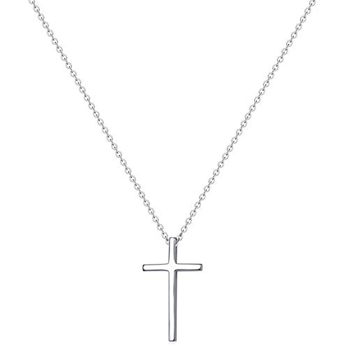 Tiny Cross Pendant Necklace for Women Simple Cross Necklaces Mothers Day Birthday Gifts for Women Girl (Vertical cross)