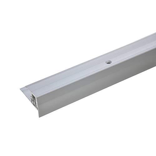 acerto 35805 Aluminum Treppenkantenprofil Laminat Parkett 7-15,5 mm - 135cm silber Rutschhemmend Robust Leicht Montage Treppenstufen-Profil Treppenkantenschutz gelocht zum Schrauben
