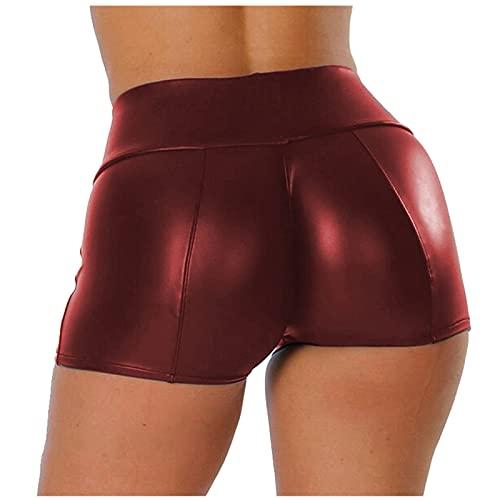 Pantalones Cortos de Cuero Color Liso para Mujer Mallas Cortos Mujer de Cintura Alta Sexy Pantalón Corto Mujer de Reducir Vientre Leggins Elásticos Talla Grande Shorts Mujer Casual para Verano