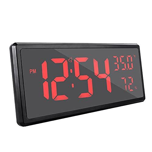 Kfhfhsdgsanz Despertador, Reloj de Alarma Grande de la Pantalla de la Pantalla Reloj de Pared de Reloj Digital Multifuncional (Color : Red)