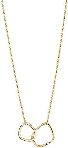 ZHIFUBA Co.,Ltd Collar Cool Wind Collar Irregular Geometry Collar Simple Doble Anillo Novias Clavícula Cadena Collar Colgante Cadena para Mujeres Hombres