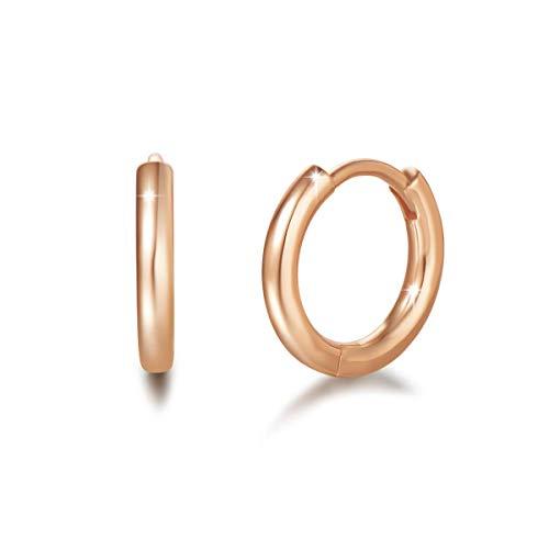 Orecchini a Cerchio Piccoli per Donna in Argento Sterling 925 Placcato Oro Rosa - Diametro: 13 mm