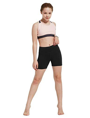 "BALEAF Girl's 4"" Volleyball Dance Biker Shorts Youth Athletic Running Yoga Gym Spandex Shorts with Pocket Black Size L"