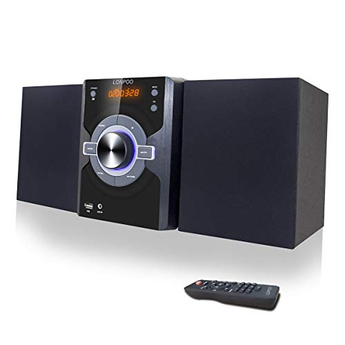 Compact Stereo Shelf System 30W (2x15W) Bluetooth CD Player Home Music System, Digital FM Stereo with Speakers, Headphone Jack, Aux-in&USB, Remote Control