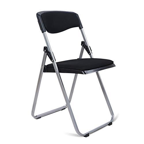 ZENGAI Tabouret Pouf Chaise Pliante de Luxe en Tissu d'acier, 3 Couleurs (Couleur : Noir, Taille : 41.5x49x79cm)