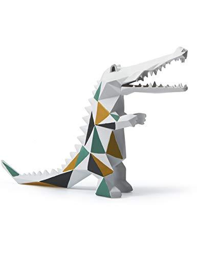 Amoy-Art Skulptur Figur Krokodil Statue Art Geometrisch Tier Dekor für Haus Geschenk Andenken Giftbox Resin 27cmH