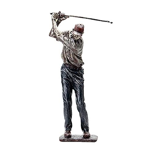 Figura de estatua de golf genio escultura golfista decoración vintage decorativa resina adorno para el hogar estante oficina 33/38 cm de altura oscilando un club de golf