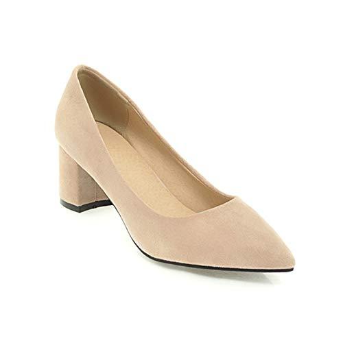 Zapatos de tacón Alto de Punta Estrecha para Mujer Zapatos de Corte de Trabajo de Carrera Zapatos de tacón de Bloque deslizantes para Mujer Zapatos de Cuero de Gamuza para Mujer