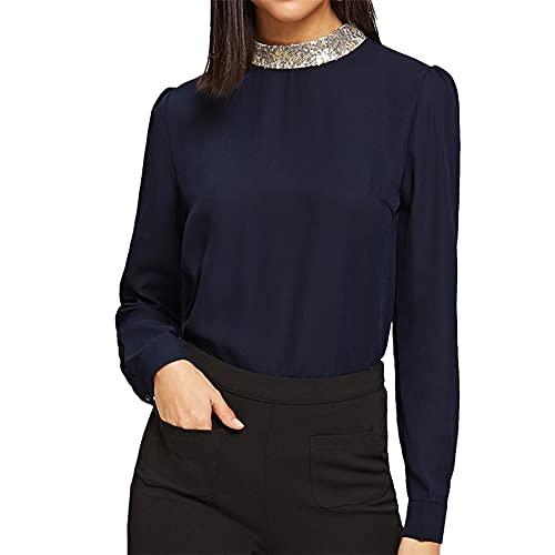 PRJN Lentejuelas de Gasa para Mujer Camisa de Cuello Alto Blusa de Manga Larga con Estiramiento Casual Primavera y Verano Camiseta para Mujer Cuello Redondo Color sólido Túnica Suelta Tops Blusa