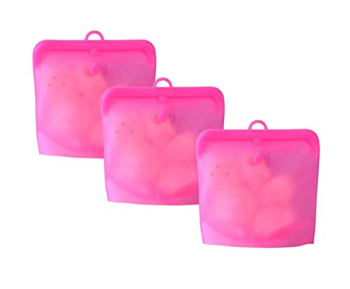 Reusable Food Storage Bags Food Grade Silicone Cook Store Freeze Microwave Safe Airtight Set of 3 32oz Pink