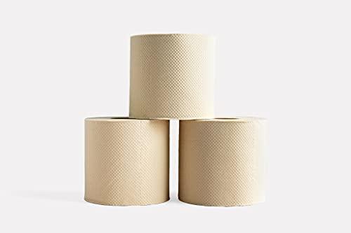 Papel higiénico de bambú sin blanquear | Caja de 24 rollos (3 capas, 300 hojas) | Hipoalergénico, sin plástico, respetuoso con el medio ambiente (negativo al carbono), súper suave, fuerte y sostenible