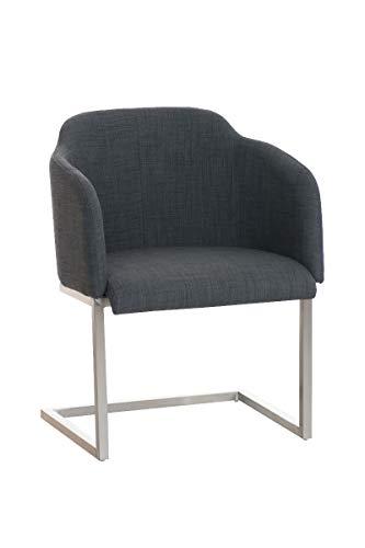CLP Edelstahl Freischwinger-Stuhl Magnus mit Stoffbezug, Besucherstuhl mit Armlehne, Konferenzstuhl gepolstert, Farbe:dunkelgrau