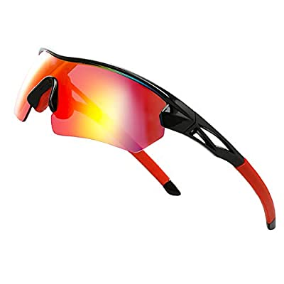 Polarized Sports Sunglasses For Men Women - Cycling Driving Fishing climbing Golfing 100% UV Protection (red)