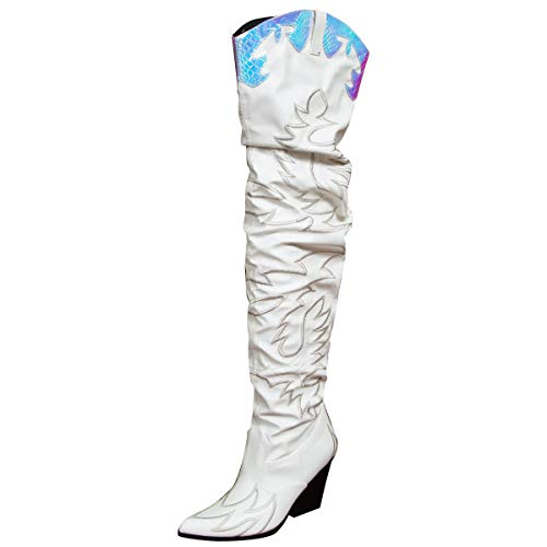 Cape Robbin Kelsey-21 Cowboy Boots Women, Over The Knee Western Cowgirl Boots with Chunky Block Heels, Fashion Dress Boots for Women - White Size 6