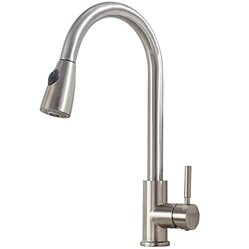 Comllen Kitchen Faucet with Pull Down Sprayer Modern Stainless Steel rv Kitchen Faucet, Single Lever Brushed Nickel Kitchen Sink Faucet Without Deck Plate
