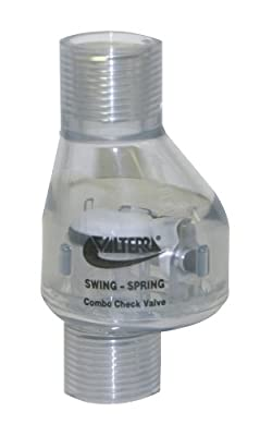"""Valterra 200-C05F PVC Swing/Spring Combination Check Valve, Clear, 1/2"""" FPT by Valterra Products"""