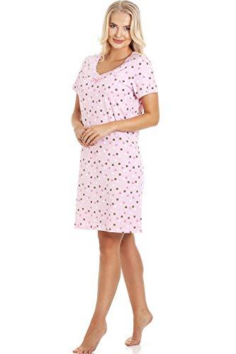 CAMILLE Damen Nachthemd für den Sommer weiche Baumwolle Prints 46/48 Pink & Brown Polka Dot