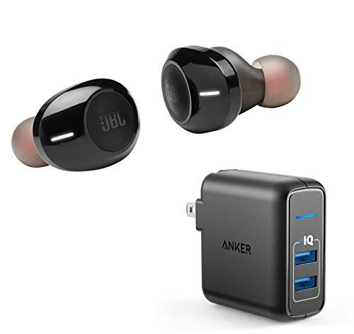 JBL Tune 120TWS True Wireless Bluetooth in-Ear Headphone Bundle with Anker PowerPort Elite 2 Port USB Wall Charger - Black