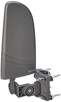 RCA Indoor TV Antenna HDTV Amplified Antenna TV Digital HD - Small Outdoor HD TV Antenna with VHF and UHF Reception Coaxial Cable and Over 50 Mile Range Black  AZON011