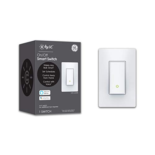 GE Lighting 93105075 C by GE On/Off Paddle Style Works with Alexa + Google Home Without Hub, Single-Pole/3-Way Replacement, White Smart Switch