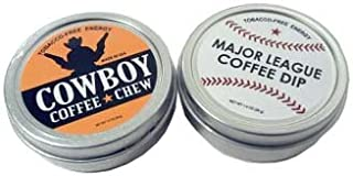 SPLIT 2 Pack Cowboy Coffee Chew & Major League Coffee Dip Quit Chewing Tin Can Non Tobacco Nicotine Free Smokeless Alternative to Dip Snuff Snus Leaf