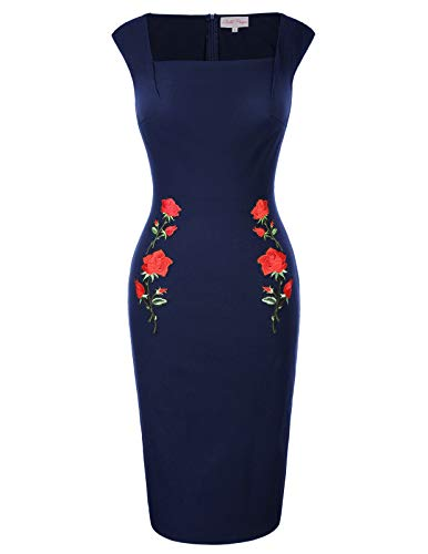 GRACE KARIN etuikleid Knielang Stretch Kleid bleistiftkleid Partykleider cocktailkleid XL BP0328-2