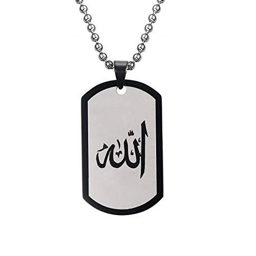 xtszlfj Collar musulmán de Alá de 48 MM, Colgante con Etiqueta de Perro para Hombre, eslabón de Cadena con Cuentas Negro Dorado y Dorado, joyería Masculina Religiosa de 24 Pulgadas