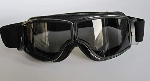 Aviator Motorradbrille T2 gunmetal, Leder schwarz, Gläser getönt