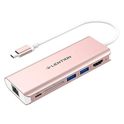 LENTION USB-C Digital AV Multiport Hub with 4K HDMI, 2 USB 3.0, Card Reader, Type C Charging, Gigabit Ethernet Adapter Compatible MacBook Pro 13/15 (Thunderbolt 3), 2018 MacBook Air, More (Rose Gold)