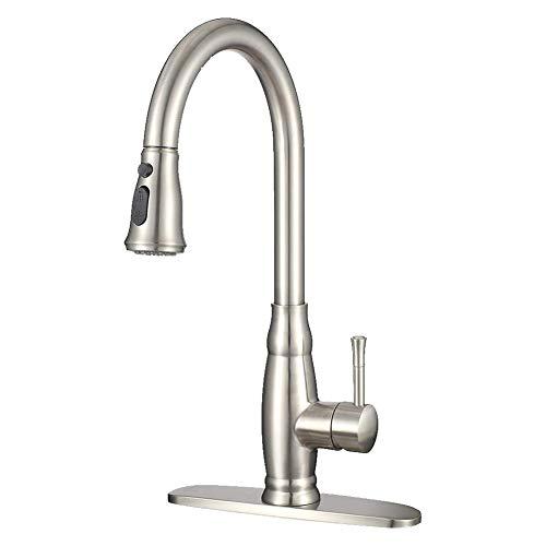 Haushaltsküchenhahn,Kitchen Sink Pull Out-Hahn, Mit Pull-Down-Sprayer Gebürstet Einhand-einzelnen Loch-Rotating Pull-Hahn-Küche-Badezimmer-Hahn