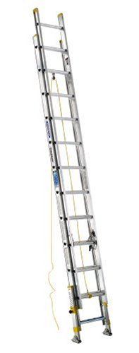 Werner D18242EQ Equalizer 250-Pound Duty Rating Aluminum Extension Ladder with Integrated Leveling System, 24-Foot