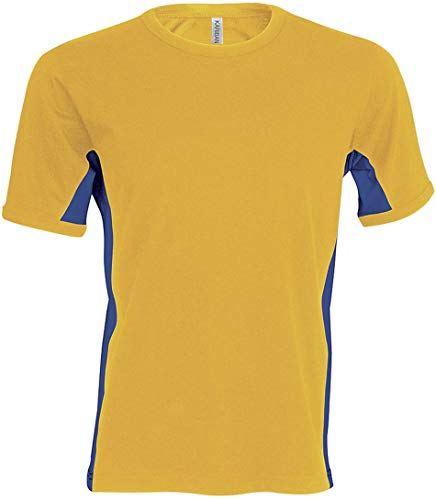 Kariban Tiger > T-Shirt Bicolore Manches Courtes - Yellow/Royal Blue, XL, Homme