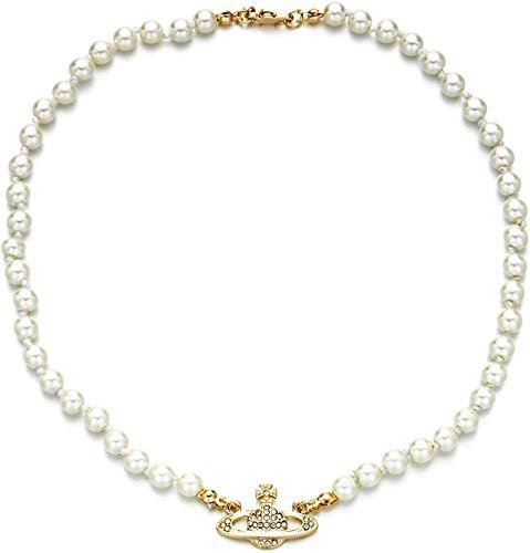 Collar de Perlas de Saturno, Collar de Diamantes de imitación de Cristal de Planeta Blanco, Collares de Cuentas de Perlas Blancas Collar de Planeta de Saturno de Diamantes, para Mujeres y niñas